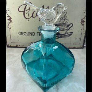 Vintage Apocathery Blue Glass Jar Bird Topper